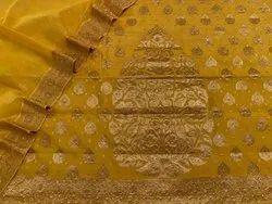 Unstitched Mustard Pure Chanderi Booti Stone Suits, Machine wash