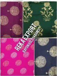 Rayon Gold Print Fabric