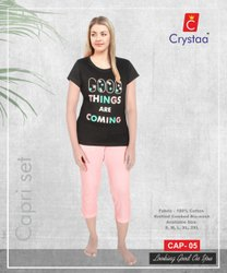 Cotton Black Women Clothing Capri Set, 180, Size: S-XXL