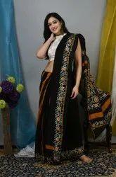 Batik Print Party Wear Chanderi Silk Cotton Saree, With Blouse, 6.3 m