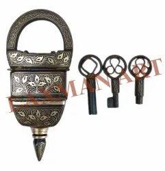 Laxman Art Golden Vintage Handmade 3 Key Puzzle Padlock, Antique
