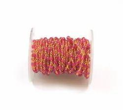 Hot Pink Chalcedony  Beads  Handmade Rosary Chain