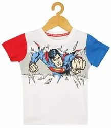 Party Wear Round Kids Superman Printed T Shirt
