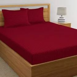 Maroon Satin Stripe Dyed Double Bed Sheet
