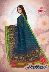SMC Casual Wear Pure Cotton Printed Saree, 6.3 m (With Blouse Piece)
