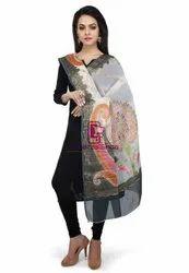 Silk Mark Available Woven Off White and Grey Handloom Banarasi Pure Georgette Dupatta