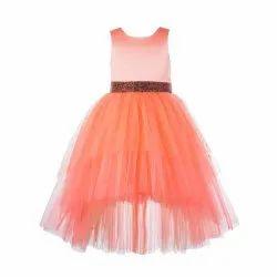 Plain Net TBKF2001PC - Kids Girls Peach High Low Party Wear Dress, Size: 2-12 Years
