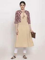 Women Printed Polyester A-line Jacket Kurta (Beige)