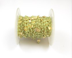 Prehnite chalcedony Coin Beads Brass Handmade Rosary