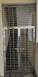 Polished Silver SS Safety Door Grill, For Home
