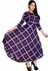 Printed Multicolor Ladies 3/4 Sleeves Anarkali Gown