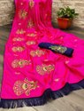 Wedding Wear Embroidered Sana Silk Saree, 6.3 M (with Blouse Piece)