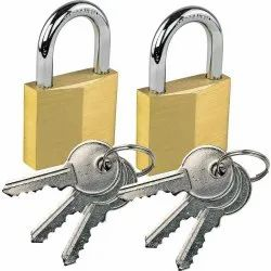 With Key Golden And Silver Safety Padlock, Padlock Size: 40 mm, Brass