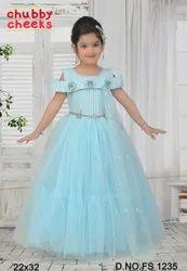 Sky Blue Kids Designer Net Gown