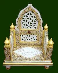 Traditional Indoor Handicraft Marble Singhasan for Home