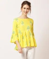 Cotton Casual Wear Yellow Floral Printed Girls Top