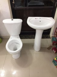Zeric Ceramic Pedestal Wash Basin, Model Name/Number: Serena Set