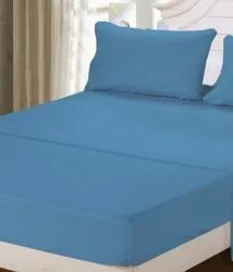 Blue Satin Double Bed Sheet