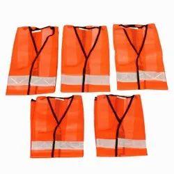 Unisex Orange Polyester Safety Jacket