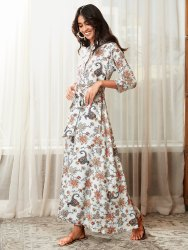 Janasya Women's Sky Blue Rayon Western Dress(J0168)
