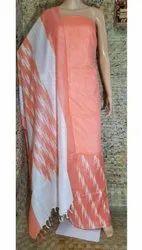 Ladies Orange Cotton Silk Suits Material