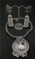 Oxidised Necklace Set With Earring