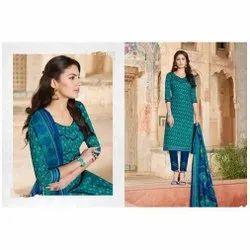Surya Jyoti Casual Wear Ladies Cotton Straight Suit, Machine wash
