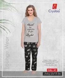 Grey Melange Cotton Women's Lounge Wear, S-XXXL