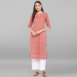 Janasya Women's Pink Cotton Kurta With Palazzo (SET138)