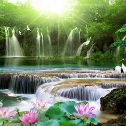 3D Waterfall Nature Wallpaper