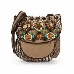 Brown Emboridered Canvas Embroidered Bags