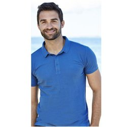 Ring Spun Cotton Collar Neck Blue Men Half Sleeve T Shirt