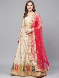 Beige Semi Stitched Designer Silk Blend Party Wear Lehenga Choli