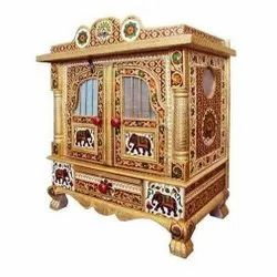 Wooden Meenakari Temple, For Worship, Size/Dimension: 2.1 Feet