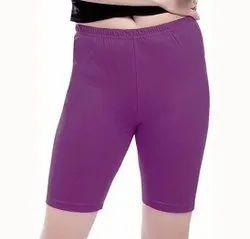 Cotton Lycra Straight Fit Women Purple Capri Legging, Size: 32 inch