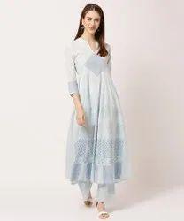 Casual Wear Anarkali Cotton Ladies Kurti With Palazzo, Wash Care: Handwash