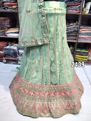 Semi-Stitched Party Wear Ladies Embroidered Lehenga