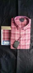 Collar Neck Tecido Men Cotton Check Shirts, Machine wash