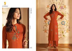 Stylemax Presents Vintage Vol 5 Silk With Embroidery Party Wear Top With Bottom