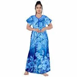 Blue Printed Women Nightwear Gown, Size: 44