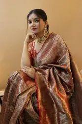 Plain Party Wear Ladies Designer Printed Silk Cotton Saree, 5.5 m (separate blouse piece)