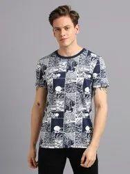 Cotton Half Sleeves Navy Printed Crew Neck Men T-Shirt