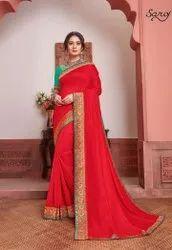 Red Color Designer Silk Saree
