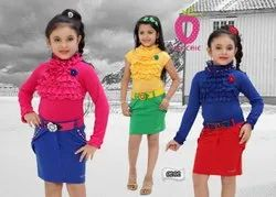 plain KNITTED Denim Stylish Short Midi Dresses Floral Applique And Belt, Age Group: 3-12 Years, Size: 22-36