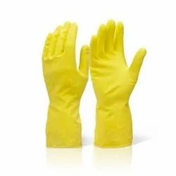 Rubber Household Yellow Hand Gloves
