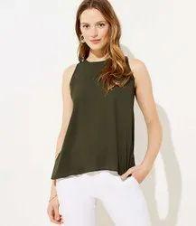 Ladies Green Plain Sleeveless Top, Size: S-XXL