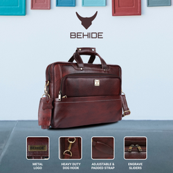 BEHIDE Brown Leather Laptop Bag, Capacity: 20 Kg
