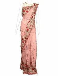 Party Wear Plain Embroidered Sarees, 6 m (with blouse piece)