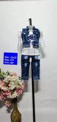 SN White Casual Wear Kids Jeans Capri