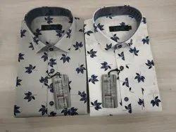 Collar Neck Men Cotton Printed Shirt, Size: M,Xl